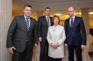 Security Policy for the European Union Catherine Ashton and Oleh Tyahnybok (left).